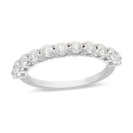 ILIANA 18K White Gold Natural Diamond (SI/G-H) Half Eternity Ring 1.00 Ct.