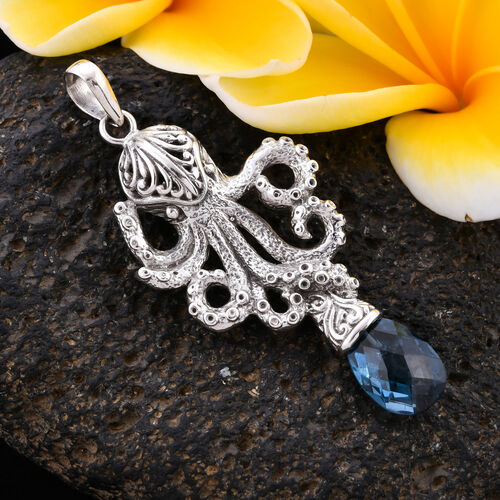 Royal Bali Collection - London Blue Topaz Octopus Pendant in Sterling Silver 4.00 Ct, Silver wt 6.52 Gms