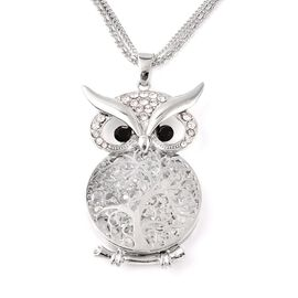 Black and White Austrian Crystal Owl Pendant with Chain (Size 28 with  3 inch Extender) in Silver To