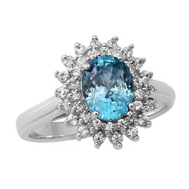 Ratanakiri Blue Zircon and Natural Cambodian Zircon Halo Ring in Rhodium Overlay Sterling Silver 3.7