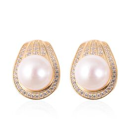 Edison Pearl and Zircon Stud Earrings with Clasp in Gold Plated Silver 9.74 Grams