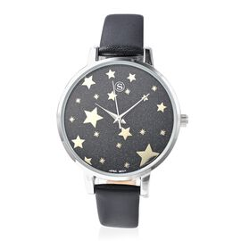STRADA Japanese Movement Water Resistant Star Pattern Watch with Black Strap