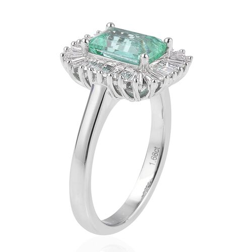 ILIANA 18K White Gold AAA Boyaca Colombian Emerald (Oct) Diamond (SI/G-H) Ring 2.405 Ct, Gold wt 5.18 Gms.