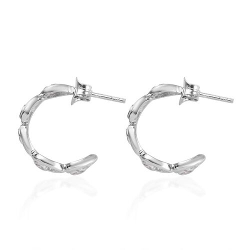 J Francis - Platinum Overlay Sterling Silver (Rnd) J-Hoop Earrings(with Push Back) Made with SWAROVSKI ZIRCONIA
