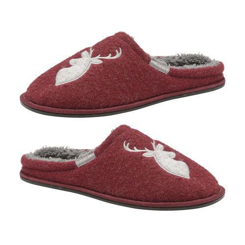 Dunlop Mens Antler Slipper Mules (Size 7) - Burgundy and Grey
