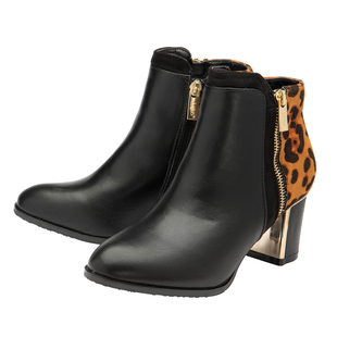 Lotus Black & Leopard-Print Greeve Ankle Boots