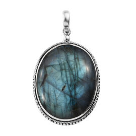 Extremely Rare Size AAA Pauls Island Labradorite (Ovl) Sterling Silver Pendant  76.410  Ct.
