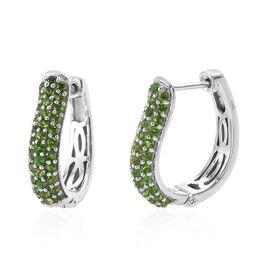 2 Carat Diopside Hoop Earrings in Platinum Plated Sterling Silver 4 Grams