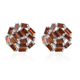 9K White Gold Red Diamond Cluster Earrings (with Push Back) 0.50 Ct.