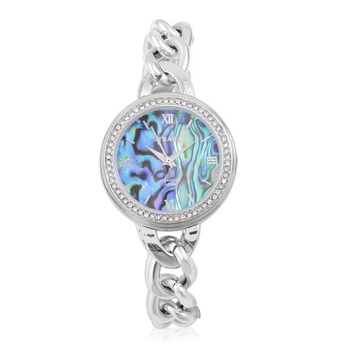 STRADA Japanese Movement Abalone Shell Dial with White Austrian Crystal Watch in Silver Tone with Curb Chain Strap
