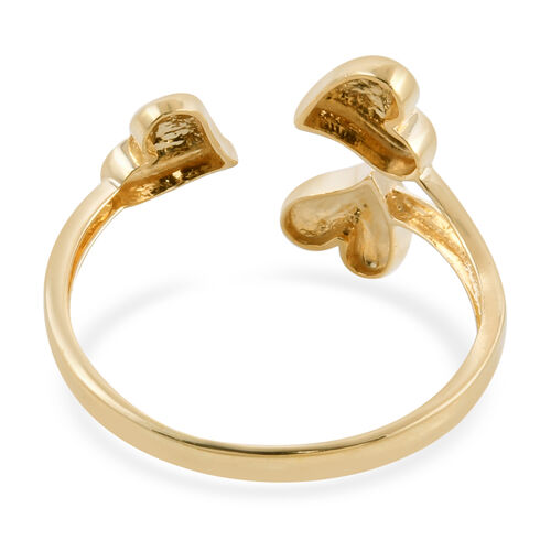 Royal Bali Collection - 9K Yellow Gold Diamond Cut Three Heart Open Ring