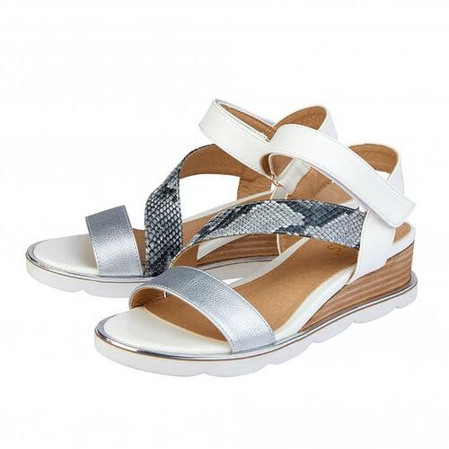 Lotus White & Snake-Print Sophia Wedge Sandals (Size 4)