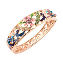 Multicolour Austrian Crystal (Rnd) Lotus Flower Enamelled Bangle (Size 7) in Rose Gold Tone