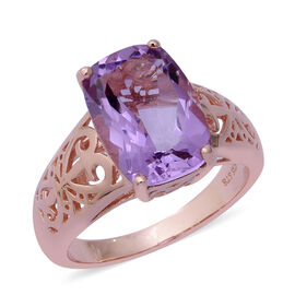 6.27 Ct Rose De France Amethyst Solitaire Ring in Rose Gold Plated Sterling Silver 5 Grams