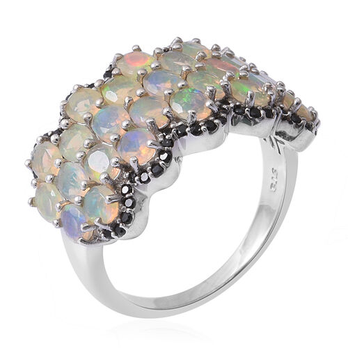 Ethiopian Welo Opal (Ovl), Boi Ploi Black Spinel Ring in Rhodium Overlay Sterling Silver 3.240 Ct, Silver wt 6.10 Gms.