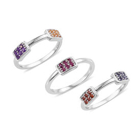 Set of 3- Mozambique Garnet (Rnd), Amethyst, Citrine and Multi Gemstone Ring in Platinum Overlay Sterling Silver 0.500 Ct. Silver Wt. 5.53 Gms