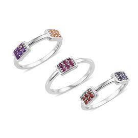 Set of 3- Mozambique Garnet (Rnd), Amethyst, Citrine and Multi Gemstone Ring in Platinum Overlay Ste