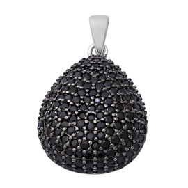 Boi Ploi Black Spinel (Rnd) Pendant in Rhodium and Black Overlay Sterling Silver 3.34 Ct.