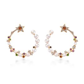 GP Freshwater Pearl and Multi Gemstone Hoop Earrings in Gold Plated Sterling Silver 6.96 Grams
