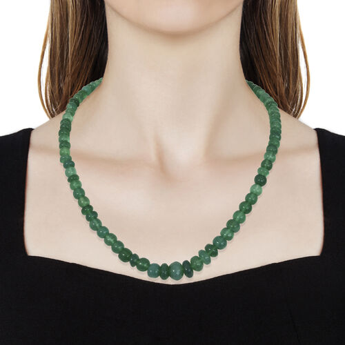 Verde Onyx Graduated Necklace (Size 18 with 2 Inch Extender) in Platinum Overlay Sterling Silver 180.000 Ct.