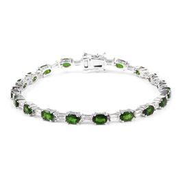 Russian Diopside (Ovl), White Topaz Bracelet (Size 7) in Rhodium Overlay Sterling Silver 10.750 Ct, Silver wt: 11.00 Gms.