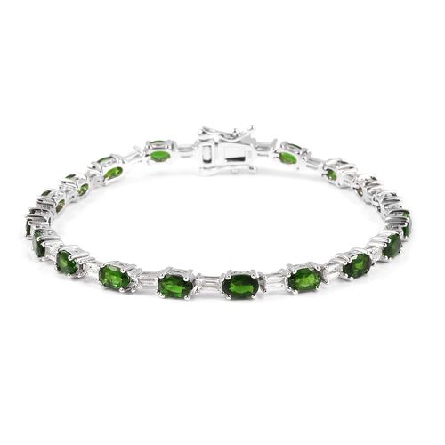 Russian Diopside (Ovl), White Topaz Bracelet (Size 7.5) in Rhodium Overlay Sterling Silver 11.250 Ct, Silver wt 11.83 Gms.