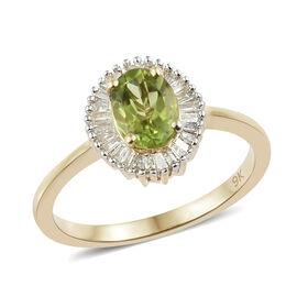 9K Yellow Gold AA Hebei Peridot (Ovl) Diamond Ring (Size Q) 1.000 Ct.