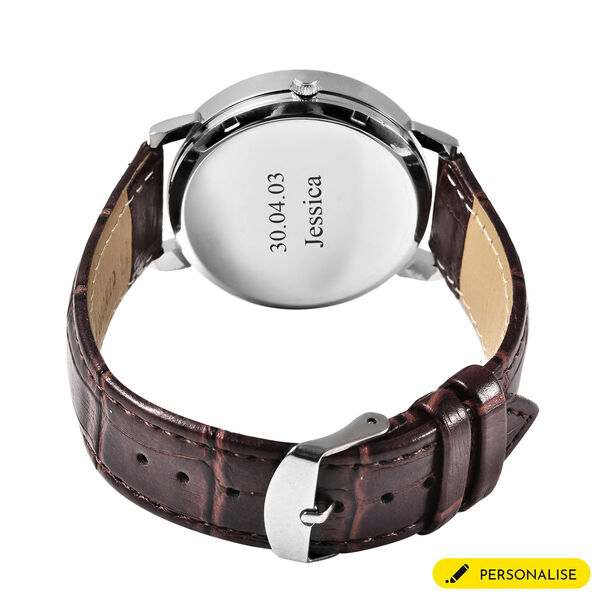 Personalised Engravable STRADA Japanese Movement Watch with Silver Tone and Brown Strap