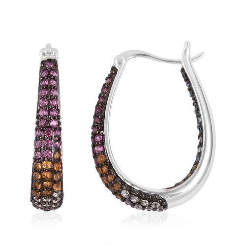 Rhodolite Garnet (Rnd), Swiss Blue Topaz, London Blue Topaz and Multi Gemstone Hoop Earrings (with Clasp Lock) in Sterling Silver 2.700 Ct. Silver wt 8.97 Gms. Number of Gemstone 144