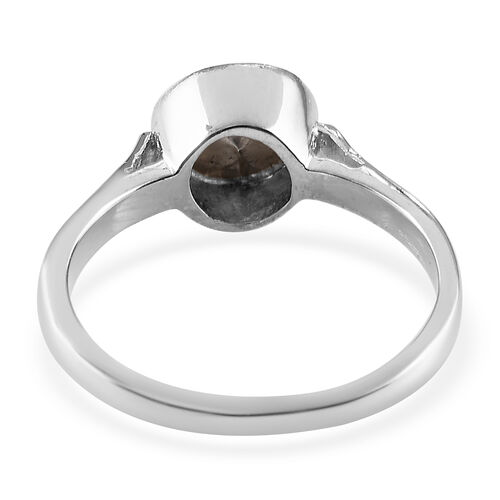 Artisan Crafted Polki Diamond Solitaire Ring in Platinum Overlay Sterling Silver