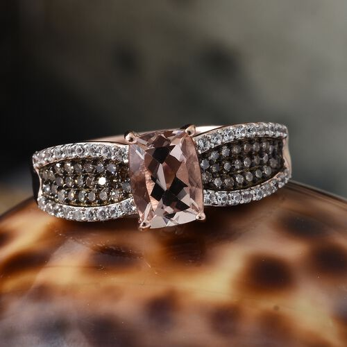 Marropino Morganite (Cush 1.35 Ct), Natural Champagne Diamond and Natural Cambodian Zircon Ring in Rose Gold Overlay Sterling Silver 2.000 Ct.