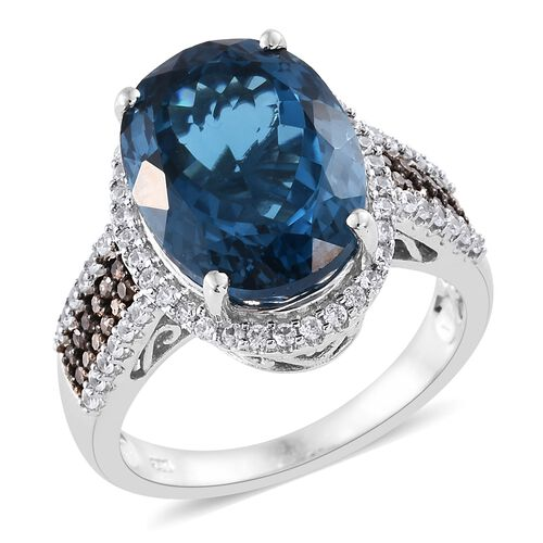 12.80 Ct Blue Topaz and Multi Gemstone Cluster Halo Ring in Platinum Plated Silver