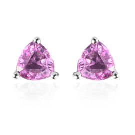 RHAPSODY 950 Platinum AAAA Pink Sapphire Stud Earrings (with Screw Push Back) 1.15 Ct.
