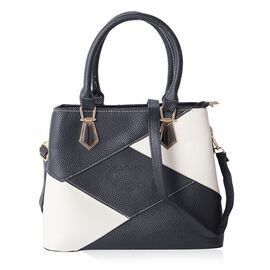 Black and Cream Colour Tote Bag with External Zipper Pocket and Removable Shoulder Strap (Size 29.5x22.5x11.5)