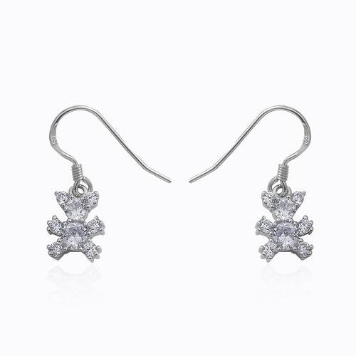 ELANZA Simulated Diamond (Rnd) Hook Earrings in Rhodium Overlay Sterling Silver