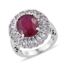 9.15 Ct African Ruby and Cambodian Zircon Halo Ring in Platinum Plated Sterling Silver 5 Grams