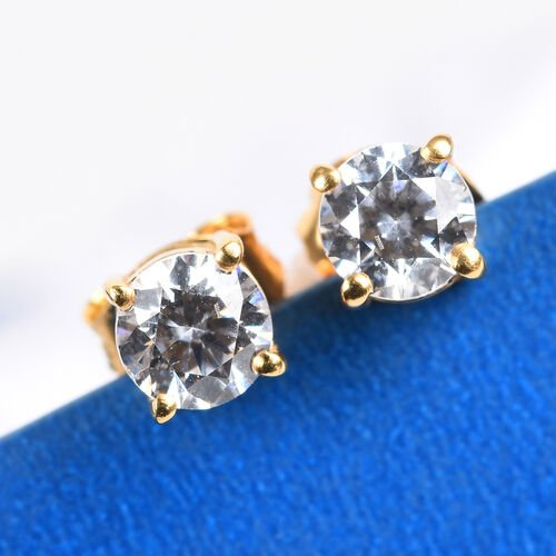 J Francis Swarovski Zirconia 14K Gold Overlay Sterling Silver Stud Earrings (with Push Back) 1.00 Ct.