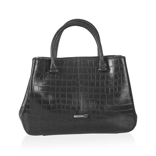 Close Out Deal Premium100%  Genuine Leather Croc Embossed Black Colour Large Tote Bag (Size 32x25 Cm