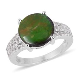 4.03 Ct AA Canadian Ammolite and White Topaz Classic Ring in Rhodium Plated Sterling Silver