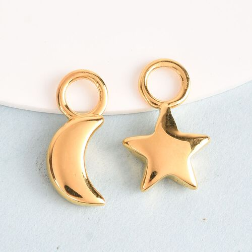 Charms De Memoire - 2 Piece Set - 14K Gold Overlay Sterling Silver Moon and Star Charm