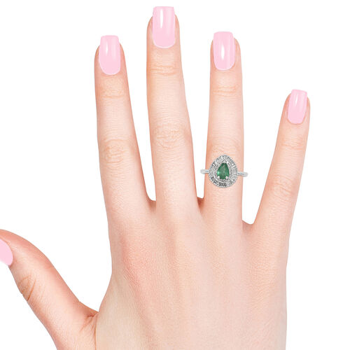 AA Kagem Zambian Emerald (Pear), Diamond (Rnd 0.35Ct) Ring in Platinum Overlay Sterling Silver 1.000 Ct.