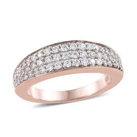 WEBEX- J Francis - Rose Gold Overlay Sterling Silver (Rnd) Half Eternity Ring Made with SWAROVSKI ZI