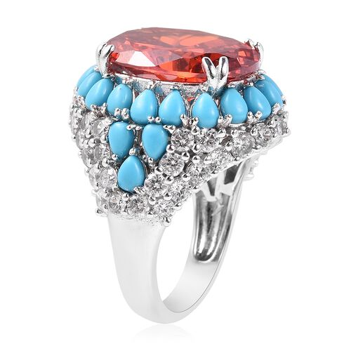 Lustro Stella Simulated Mandarin Garnet (Ovl), Simulated Diamond and Blue Howlite Ring in Rhodium Overlay Sterling Silver