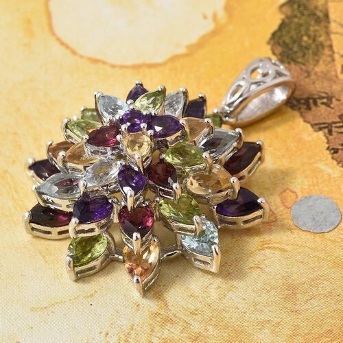 Rhodolite Garnet, Sky Blue Topaz, Hebei Peridot and Multi Gemstone Flower Pendant in Platinum Overlay Sterling Silver 10.000 Ct. Silver wt 7.29 Gms.