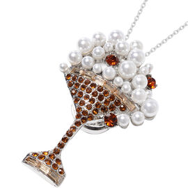 Simulated Pearl and Brown Austrian Crystal Champagne Glass Brooch or Pendant With Chain (Size 24) in