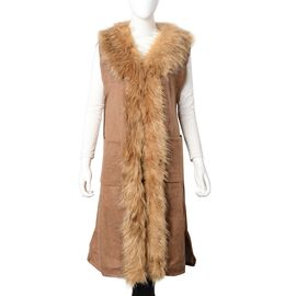 Faux Fur Collar Long Vest Cardigan with 2 Pockets (Size 106x53 Cm) Camel Colour