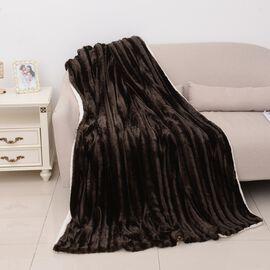 Luxurious Faux Fur Brushed Stripe Pattern Sherpa Blanket (Size 260x240 Cm) Gold Colour