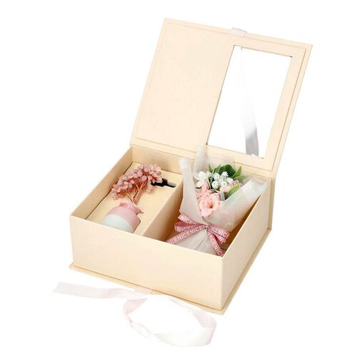 The 5th Season Gemstone Tree in Porcelain Vase with 100ml Essential Oil and Artificial Bouquet in Gift Box - Rose Quartz