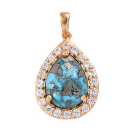10 Carat Persian Turquoise and Cambodian Zircon Halo Pendant in Gold Plated Sterling Silver