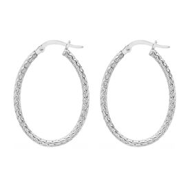 ILIANA 18K White Gold Diamond Cut Oval Hoop Earrings (with Clasp), Gold wt 1.40 Gms